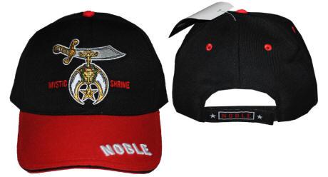"Shriner Nobles /""Mystic Shrine/"" Mens Adjustable Cap Black//Red"