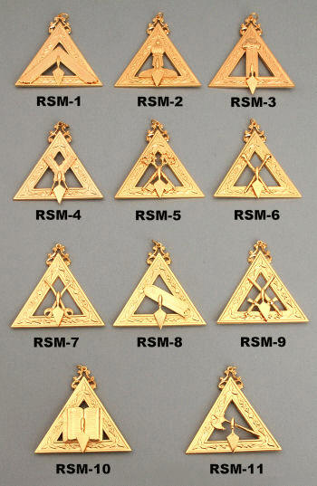 RSM-1 Illustrious Master, RSM-2 Deputy Master, RSM-3 Cond. of Work, RSM-4 Recorder, RSM-5 Treasurer, RSM-6 Marshal, RSM-7 Steward, RSM-8 Cond. of Council, RSM-9 Sentinel, RSM-10 Chaplain, RSM-11 Capt. of Guard