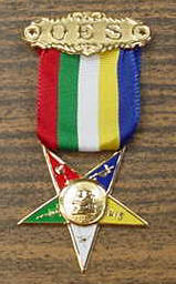 OES Member jewel w/ 5 color ribbon